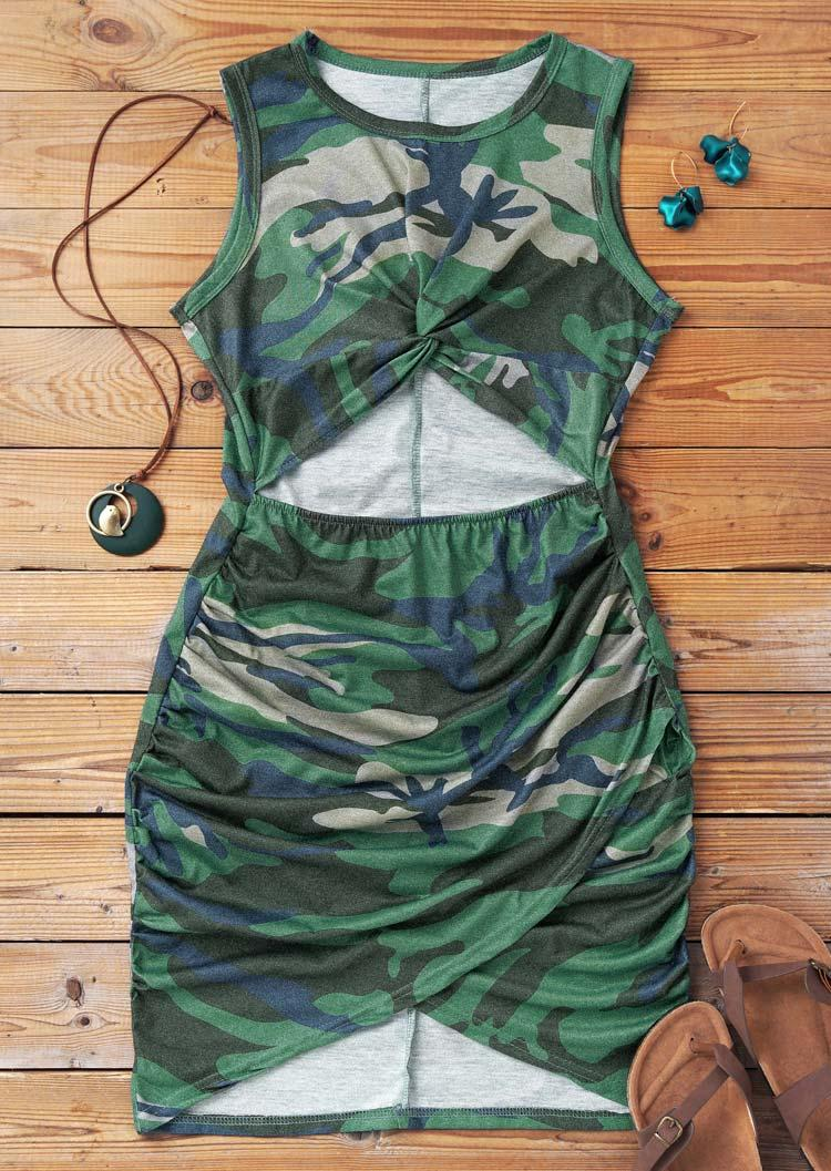Camouflage Hollow Out Twist Ruched Bodycon Dress