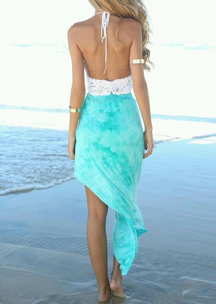 Halter Tie Crochet Crop Top And Twist Irregular Long Skirt Outfit - Blue