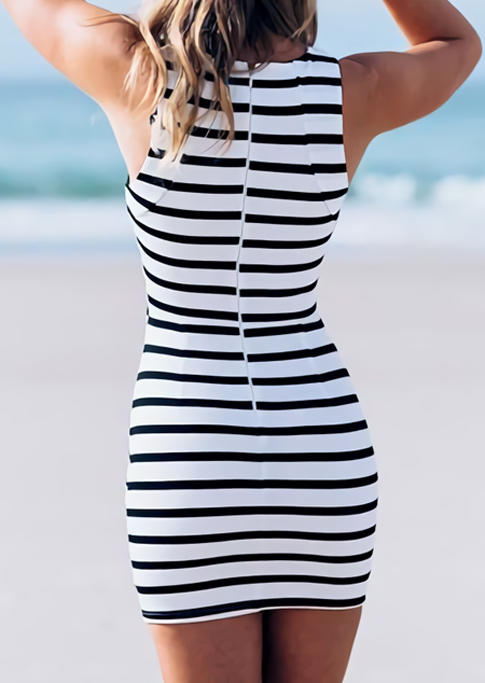 Striped Hollow Out Sleeveless Zipper Bodycon Dress