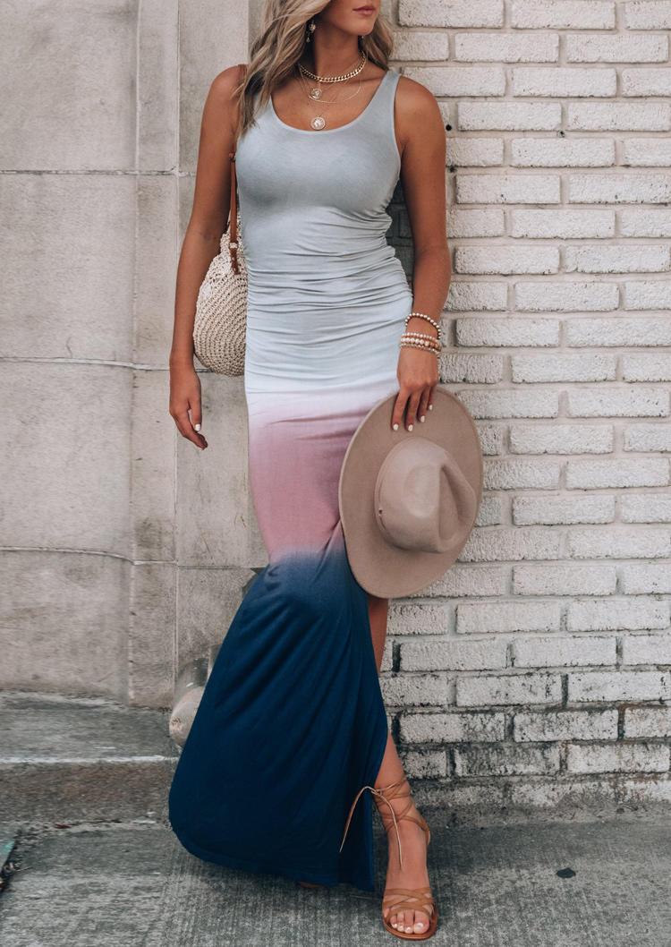 Gradient Slit Ruched Sleeveless Bodycon Dress