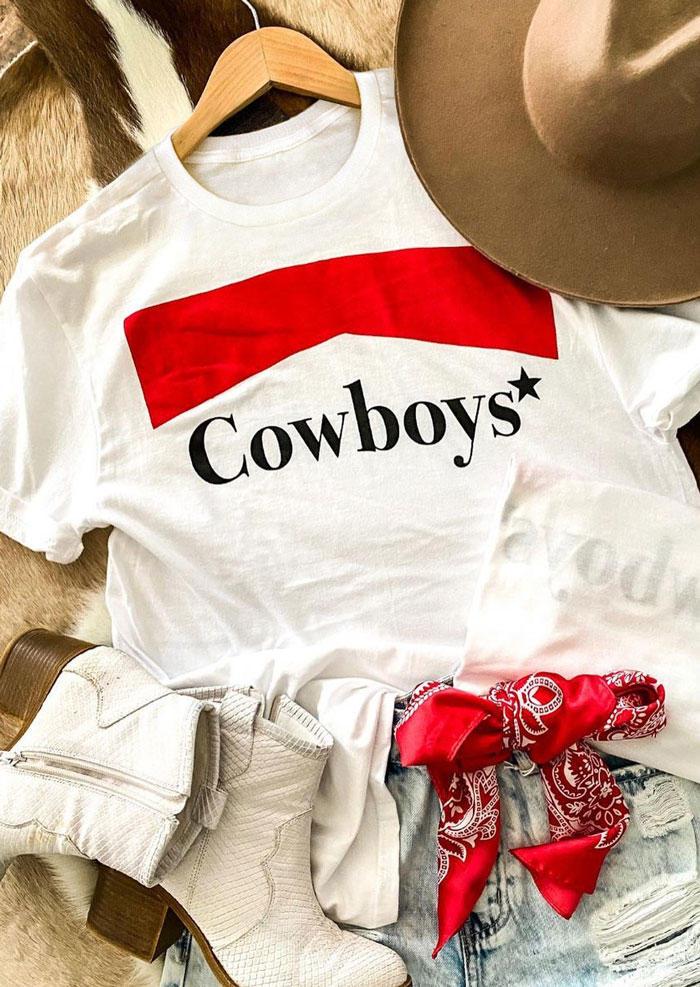 Cowboys Star O-Neck T-Shirt Tee - White