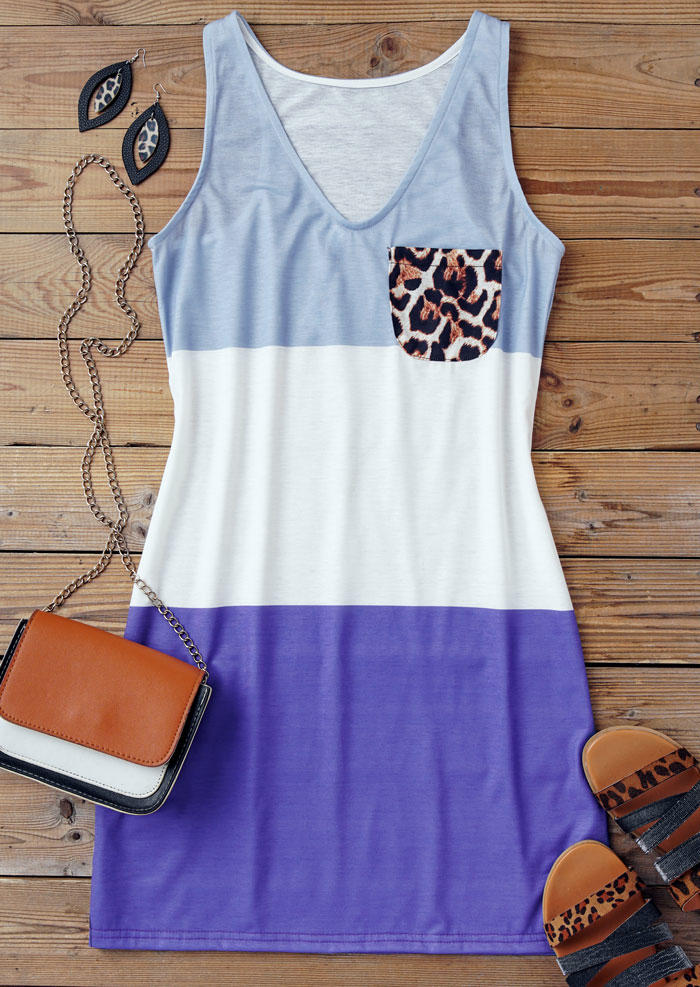 Color Block Leopard Pocket Sleeveless Mini Dress