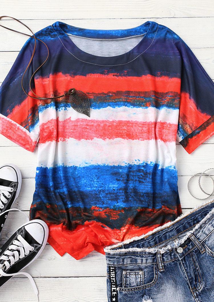 Gradient Color Block Striped Blouse