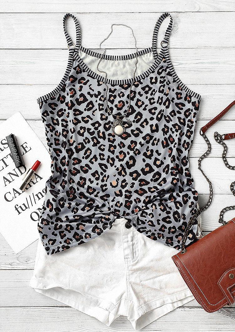 Leopard Stretchy Spaghetti Strap Camisole - Gray