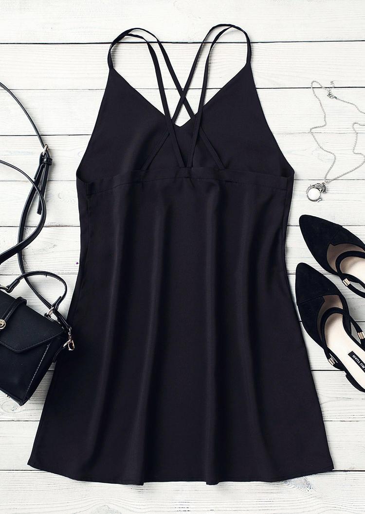 Criss-Cross Open Back Spaghetti Strap Mini Dress without Belt - Black
