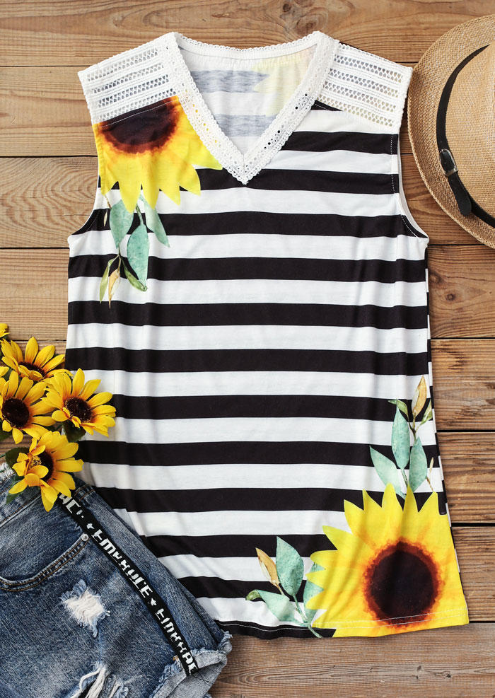 Sunflower Striped Hollow Out Tank - White