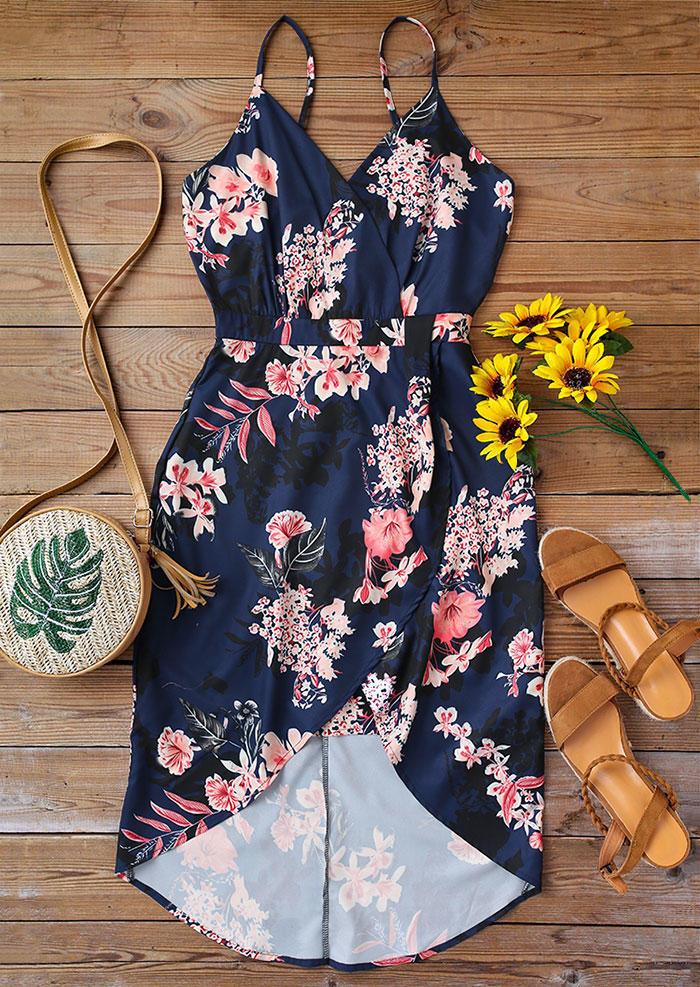 Floral Wrap Asymmetric Spaghetti Strap Mini Dress - Navy Blue