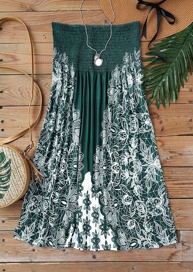 Floral Smocked Waist Strapless Ruffled Mini Dress - Dark Green
