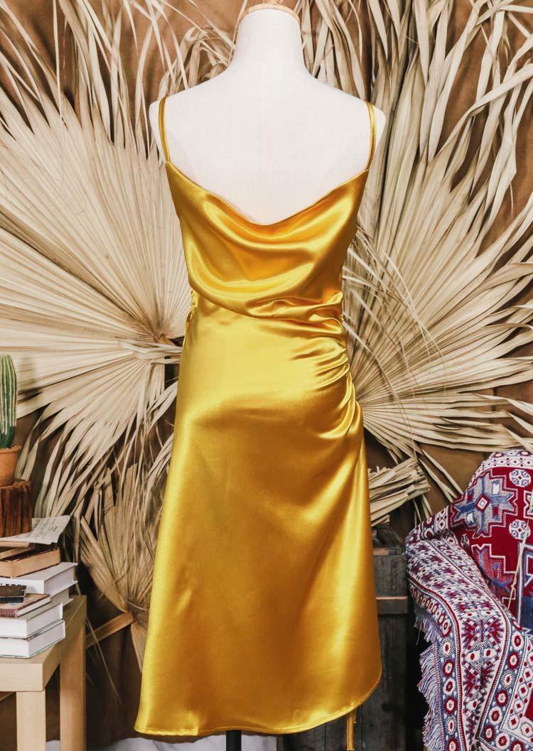 Drawstring Ruffled Slit Spaghetti Strap Midi Dress - Gold