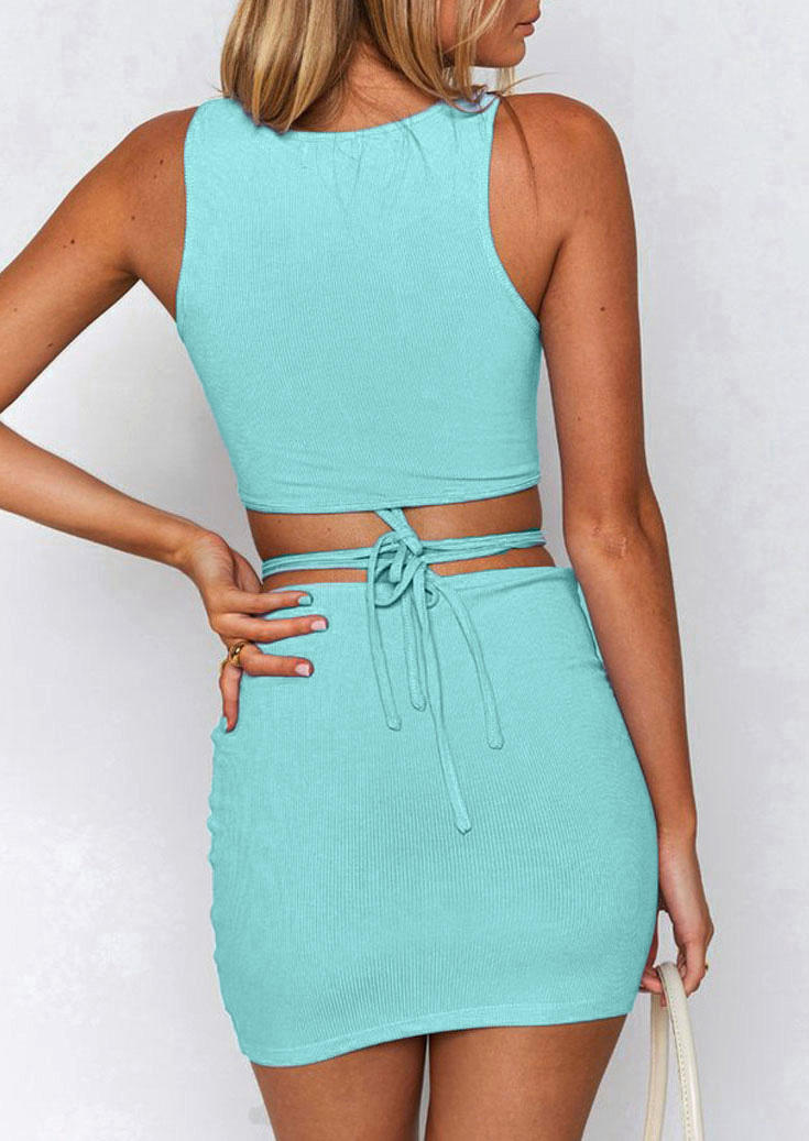 Ruffled O-Neck Crop Top And Tie Hollow Out Mini Skirt Outfit - Lake Blue