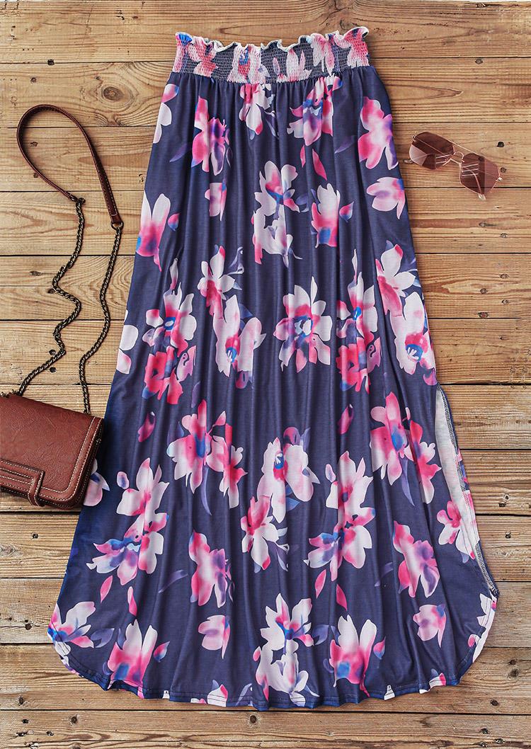 Floral Slit Pocket Long Skirt - Navy Blue