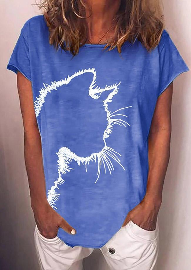 Cat Short Sleeve O-Neck T-Shirt Tee - Light Blue