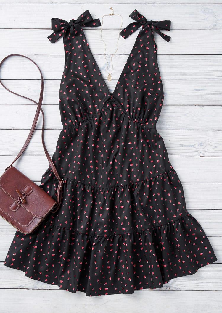 Heart Floral Ruffled Tie V-Neck Mini Dress - Black