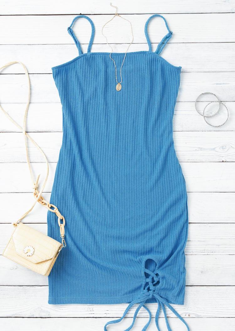 Criss-Cross Tie Adjustable Spaghetti Strap Bodycon Dress - Blue