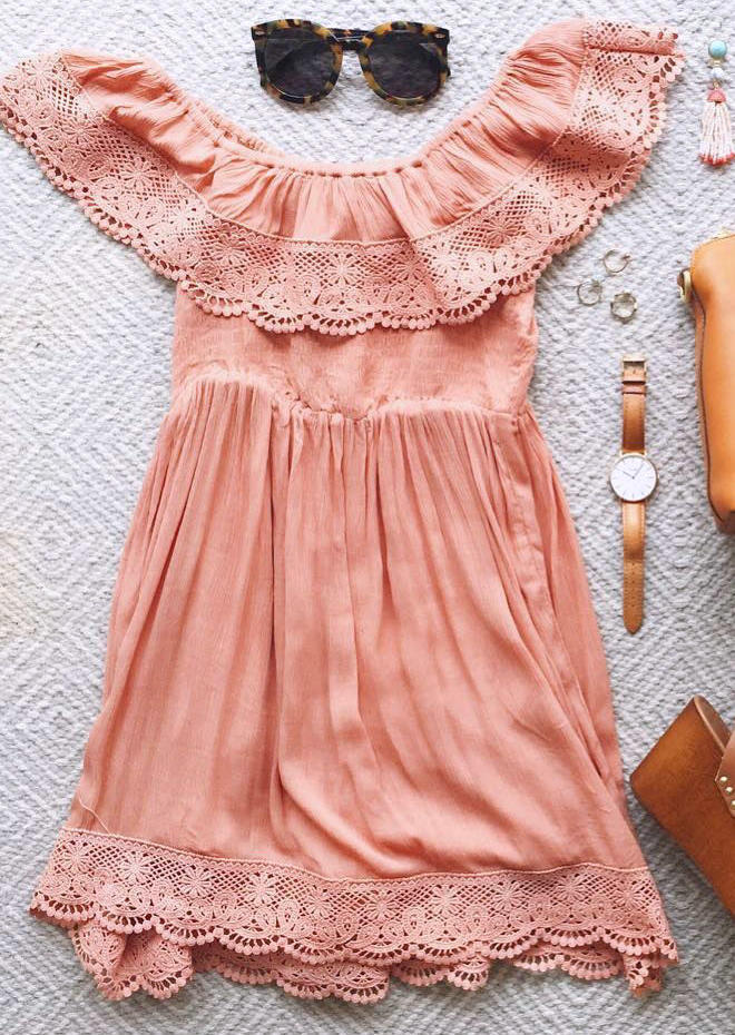 Lace Ruffled Layered OffShoulde Mini Dress - Pink