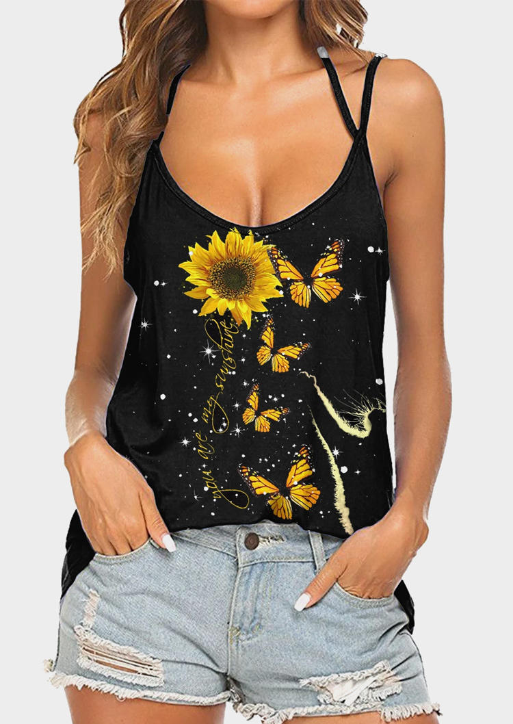 Sunflower You Are My Sunshine Butterfly Camisole - Black