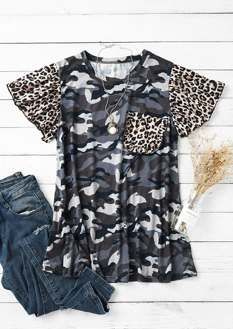 Camouflage Leopard O-Neck Blouse