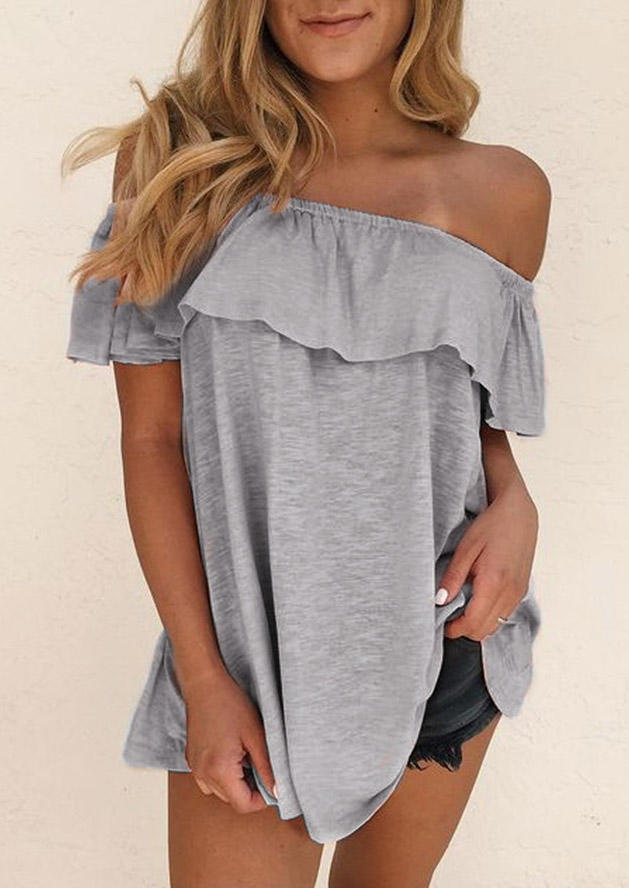 Ruffled Layered Off Shoulder Blouse - Gray