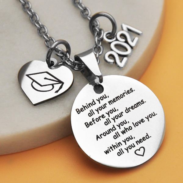 Graduation Cap Behind You All Your Memories Necklace, 502837, Fairyseason, Silver  - buy with discount