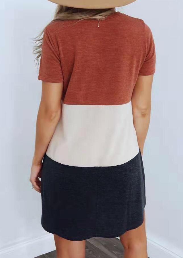 Color Block V-Neck Casual Mini Dress
