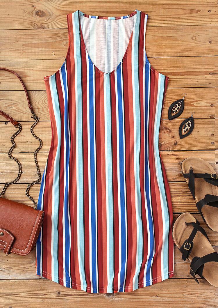 Colorful Striped Sleeveless Mini Dress
