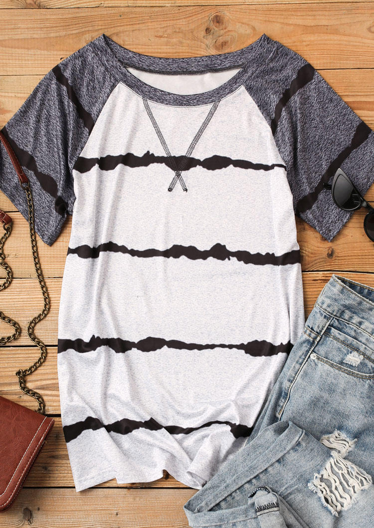 Color Block Striped O-Neck Blouse