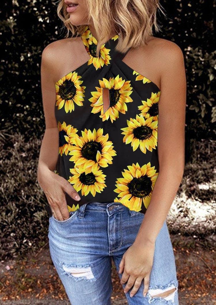 Sunflower Hollow Out Halter Tank - Black