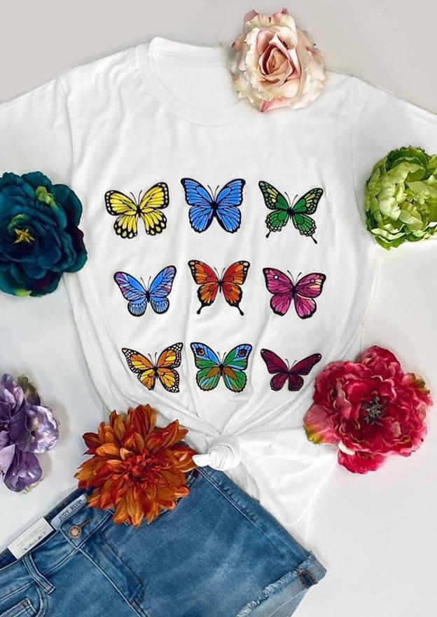 Colorful Butterfly O-Neck Casual T-Shirt Tee - White