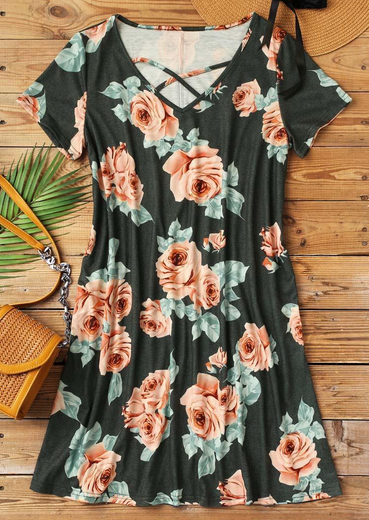 Floral Criss-Cross Pocket Mini Dress