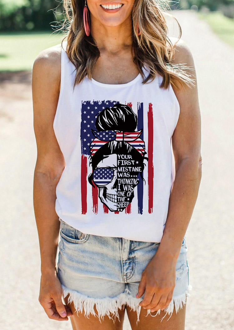 American Flag Skull Your First Mistake Graphic Tank - White