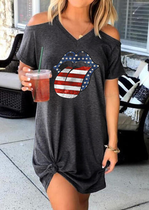 American Flag Star Striped Lips Cold Shoulder Mini Dress - Gray