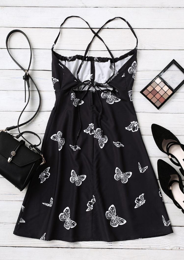 Butterfly Halter Tie Open Back Mini Dress - Black