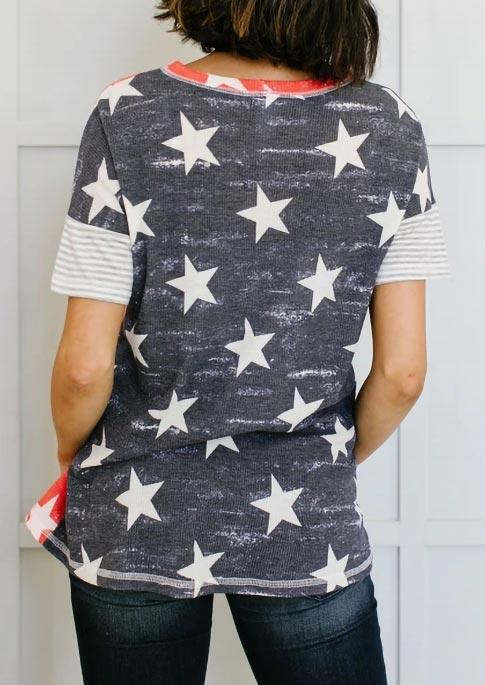 American Flag Star Striped Blouse
