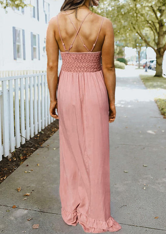 Ruffled Hollow Out Lace Splicing Adjustable Strap Maxi Dress - Pink
