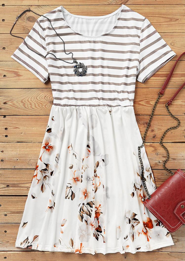Striped Floral Ruffled Elastic Waist Mini Dress - White
