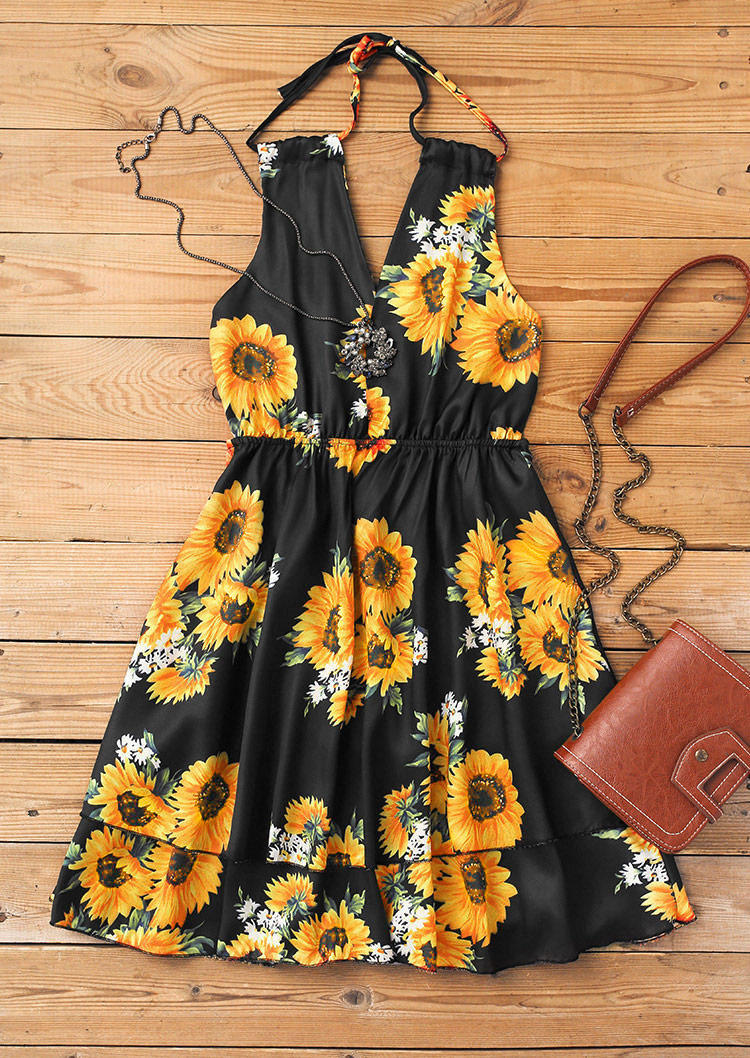 Sunflower Open Back Ruffled Layered Mini Dress - Black