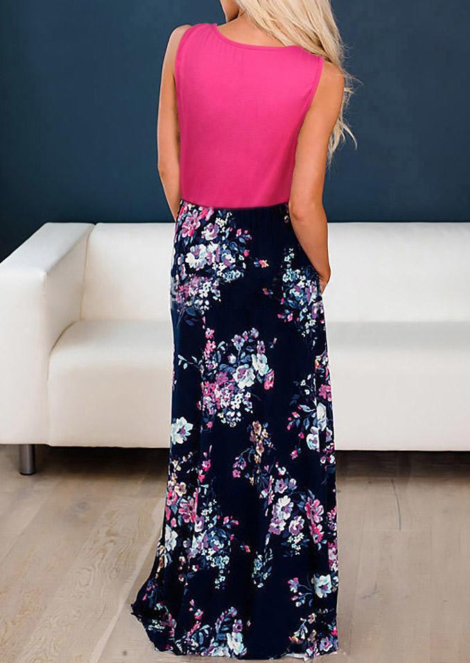 Floral Pocket Ruffled Sleeveless Maxi Dress