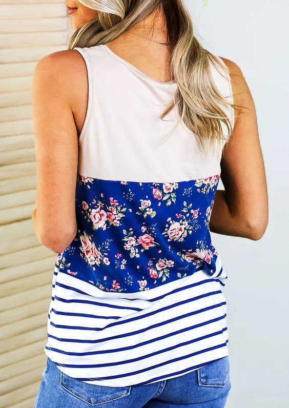Floral Striped Color Block Casual Tank - Blue
