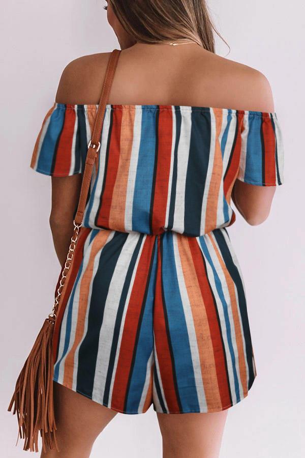 Colorful Striped Tie Front Off Shoulder Romper