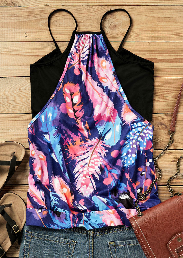 Feather Splicing Casual Camisole