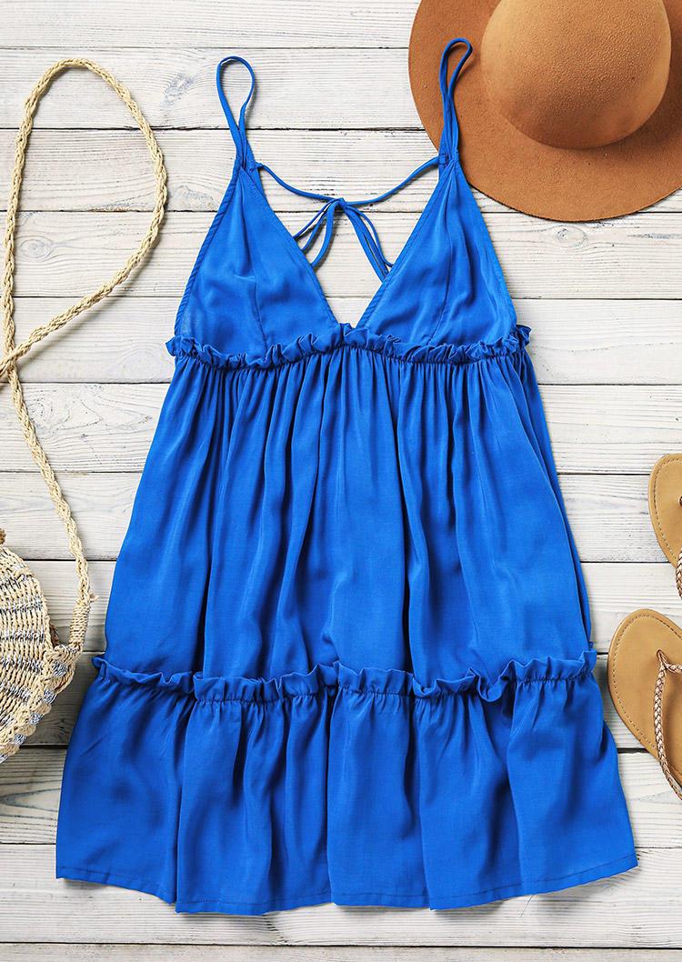 Open Back Tie Ruffled Spaghetti Strap Mini Dress - Blue