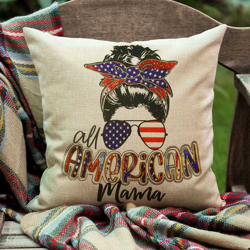 American Flag Mama Skull Glasses Pillowcase without Pillow