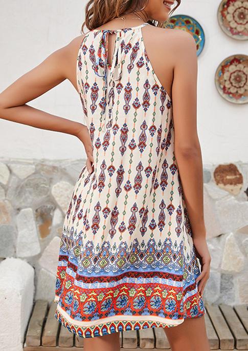 Vintage Boho Geometric Lace Hollow Out Halter Mini Dress