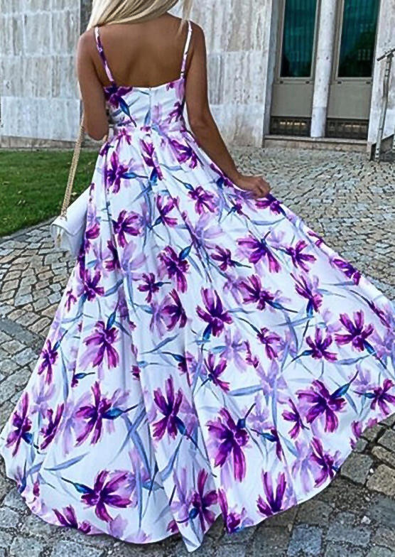 Floral Slit Spaghetti Strap V-Neck Maxi Dress