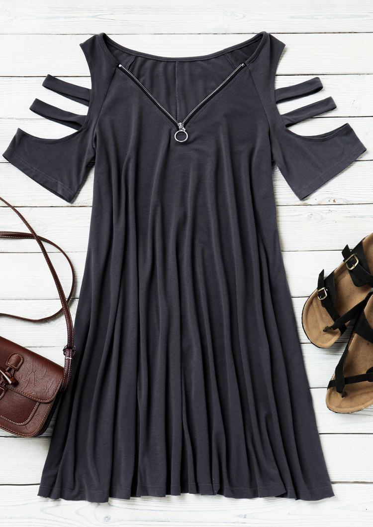 Zipper Pocket ColdShoulder Mini Dress - Dark Grey
