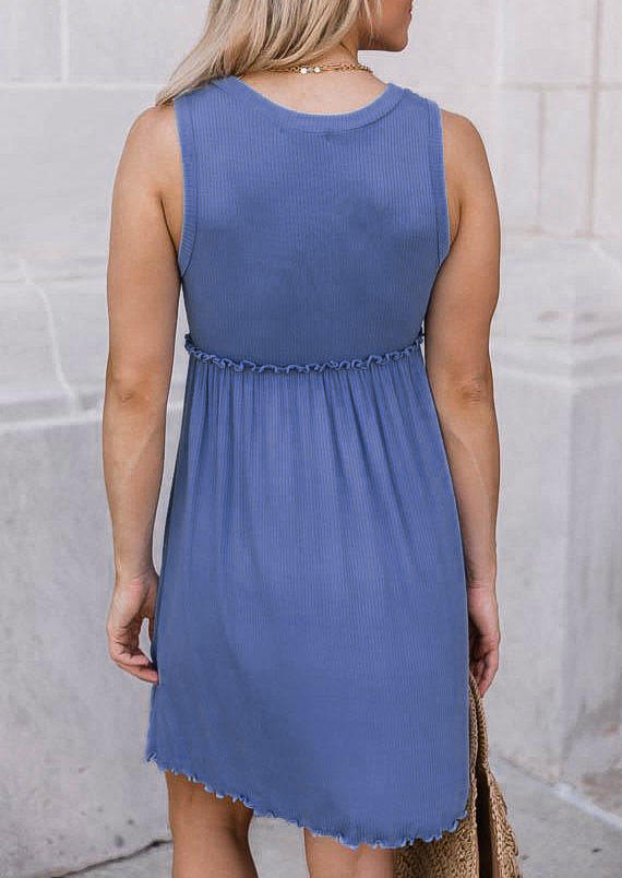 Ruffled Sleeveless O-Neck Mini Dress - Blue
