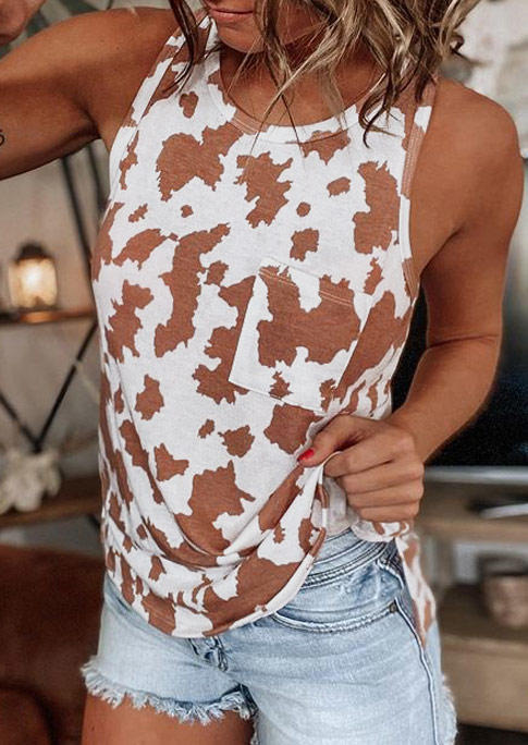 Western Cow Pocket Casual Tank - White