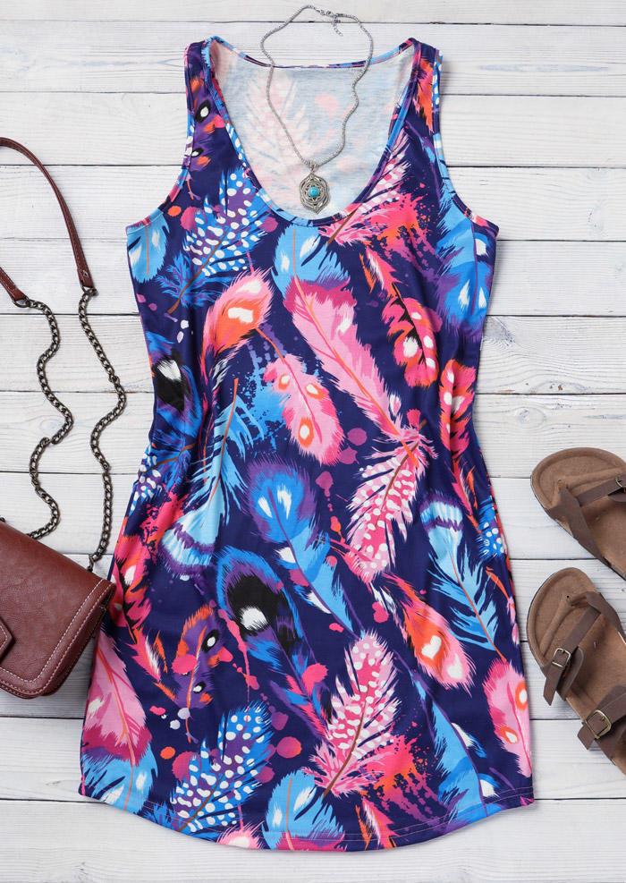 Colorful Feather Sleeveless Mini Dress