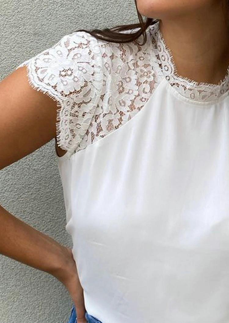 Eyelash Lace Raglan Sleeve Blouse - White