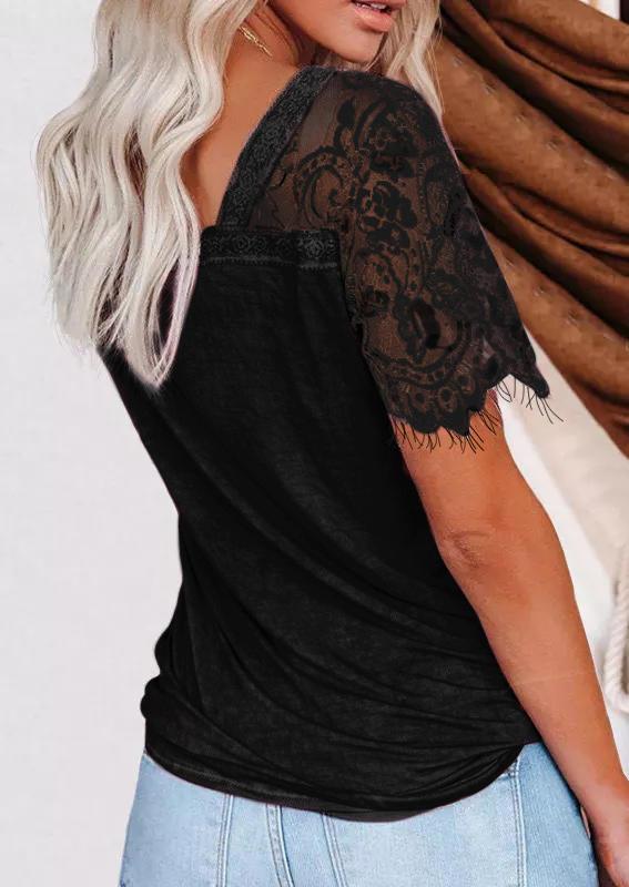 Lace Splicing V-Neck Blouse - Black